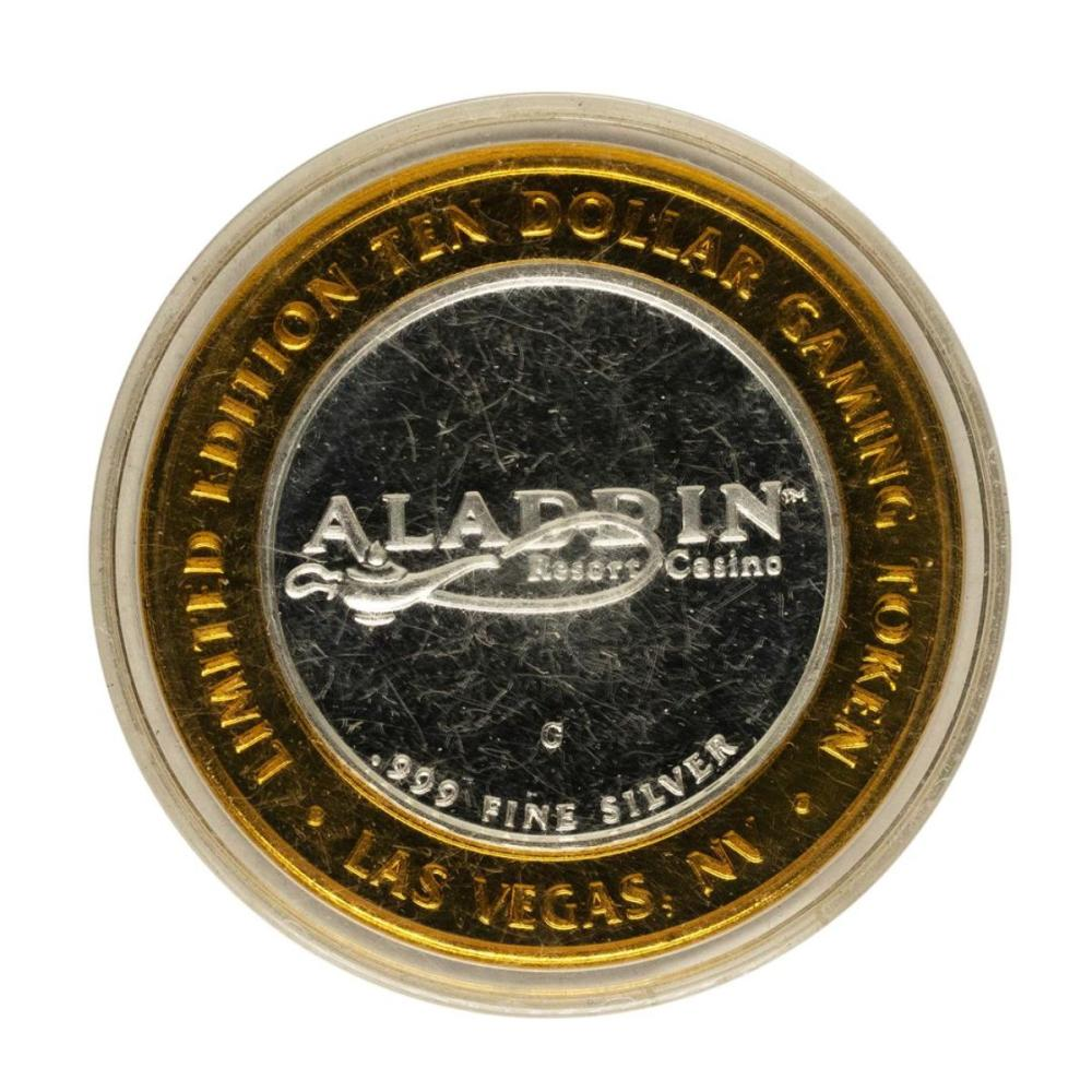 .999 Fine Silver Aladdin Resort Casino $10 Casino Limited Edition Gaming Token