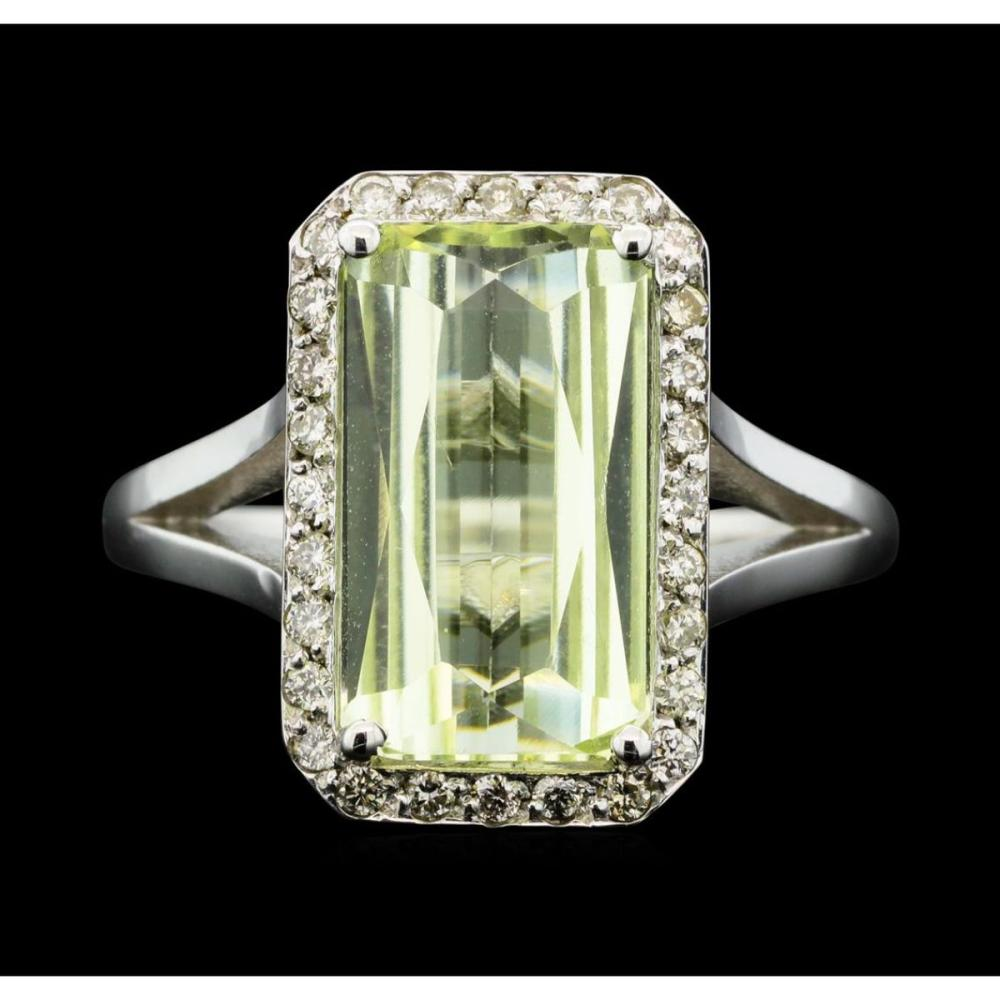 14KT White Gold 3.90 ctw Lemon Quartz and Diamond Ring