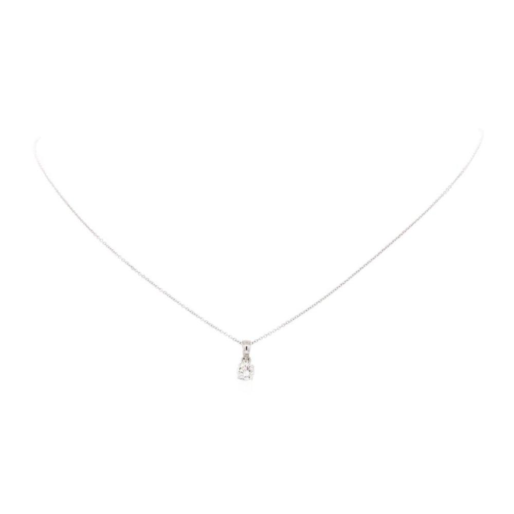 14KT White Gold 0.45 ctw Diamond Solitaire Pendant with Chain