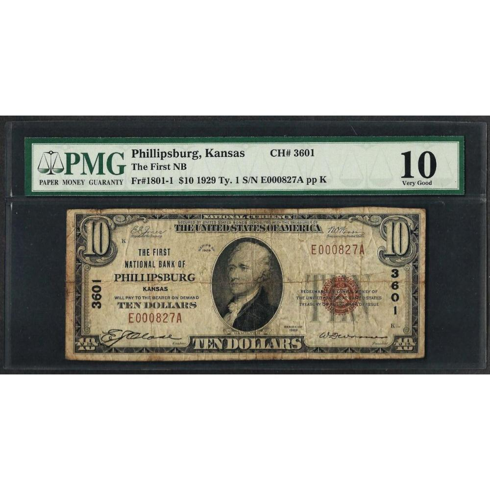 1929 $10 National Currency Note Phillipsburgh, KS CH# 3601 PMG Very Good 10