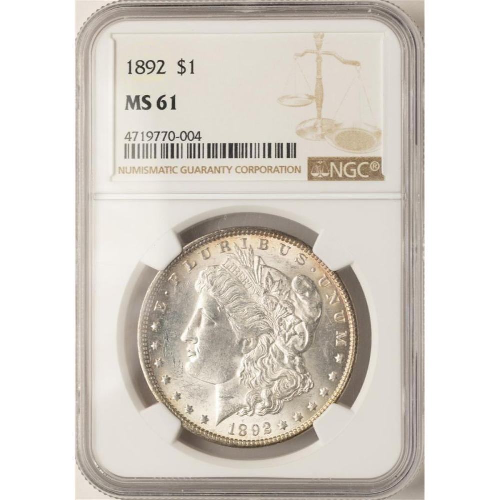 1892 $1 Morgan Silver Dollar Coin NGC MS61
