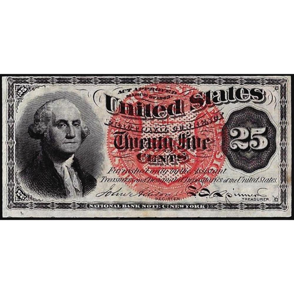 March 3, 1863 25 Cents Fourth Issue Fractional Currency Note