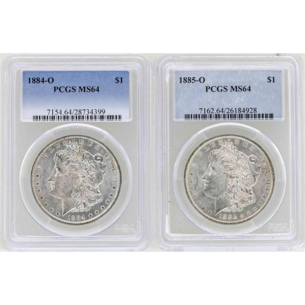 1884-O to 1885-O $1 Morgan Silver Dollar Coins PCGS MS64