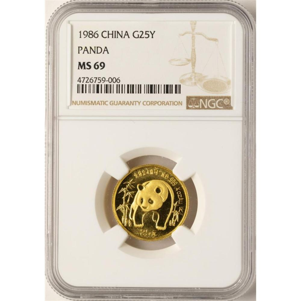 1986 China 25 Yuan Panda 1/4 oz. Gold Coin NGC MS69