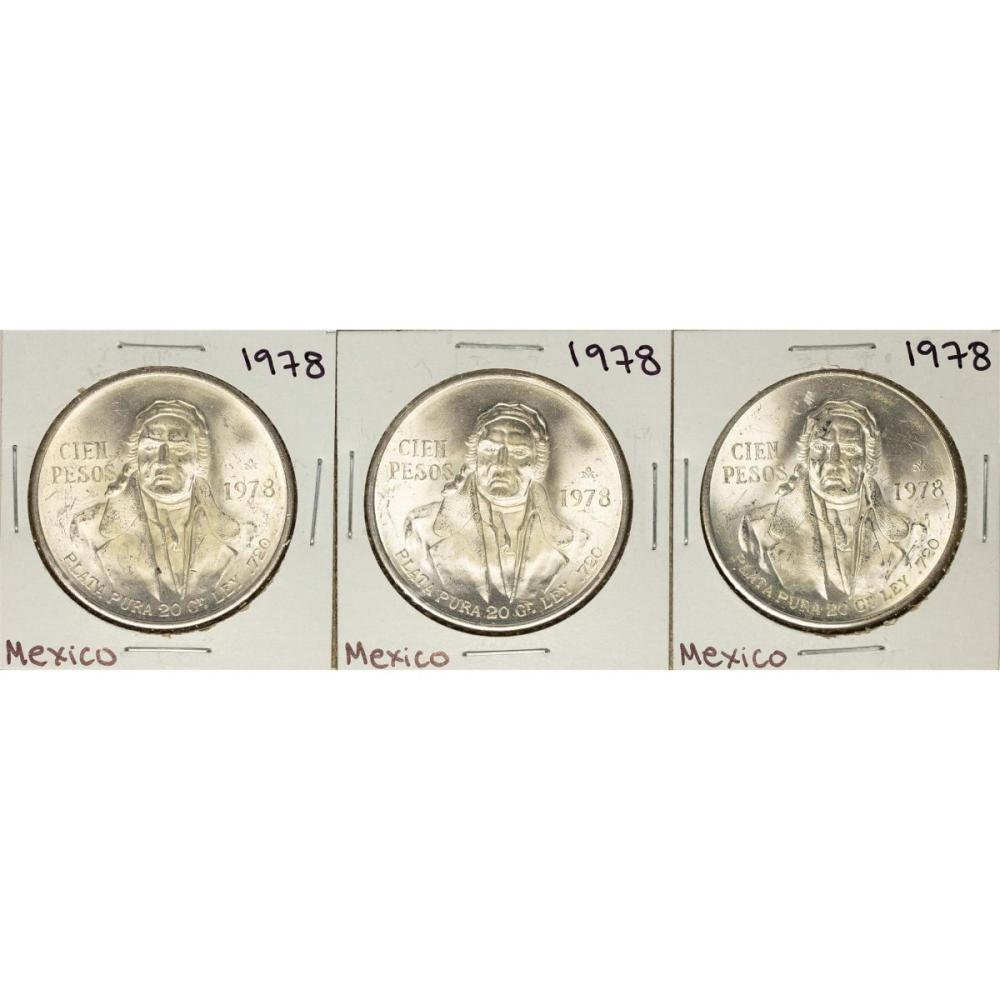 Lot of (3) 1978 Mexico Cien Pesos Silver Coins