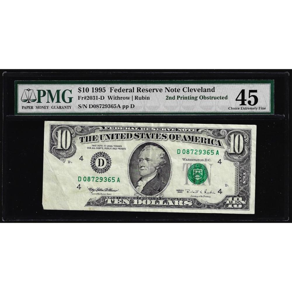 1995 $10 Federal Reserve Note ERROR Obstructed Printing PMG Choice Extremely Fin