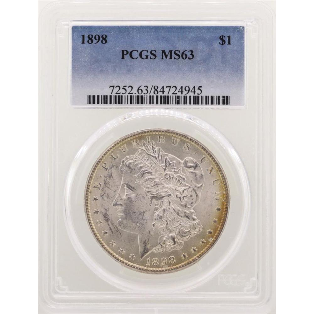 1898 $1 Morgan Silver Dollar Coin PCGS MS63