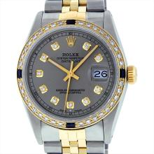 Rolex Mens Two Tone 14KT Yellow Gold 1.00ctw Sapphire and Diamond Datejust Wrist