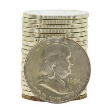 Roll of (20) 1954-D Brilliant Uncirculated Franklin Half Dollars