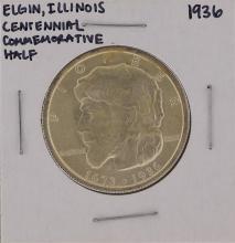 1936 Elgin Illinois Centennial Commemorative Half Dollar Coin
