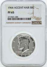 1964 Accent Hair Kennedy Half Dollar Silver Proof Coin NGC PF65