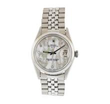 Mens Stainless Steel Rolex Date Wristwatch with MOP Diamond Dial