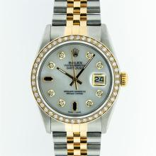 Gents Rolex Two-Tone Diamond Baguette and Sapphire Datejust Wristwatch