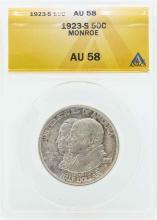 1923-S Monroe Doctrine Centennial Commemorative Half Dollar Coin ANACS AU58