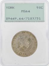 1936 York County, Maine Tercentenary Commemorative Half Dollar Coin PCGS MS64