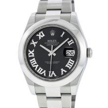 Rolex Mens Stainless Steel Diamond Roman Numeral Markers DateJust II Wristwatch