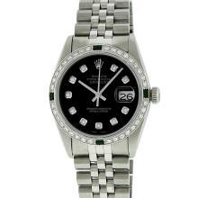 Rolex Mens Stainless Steel Emerald and 1.20ctw Diamond Datejust Wristwatch