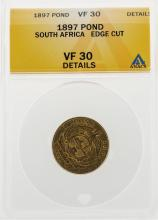 1897 Pond South Africa Edge Cut Gold Coin ANACS VF30 Details