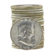 Roll of (20) 1953-S Brilliant Uncirculated Franklin Half Dollars