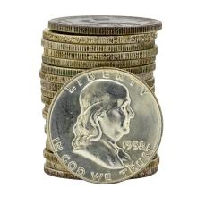 Roll of (20) 1958-D Brilliant Uncirculated Franklin Half Dollar Coins