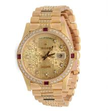 Men's 18KT Yellow Gold Rolex President DayDate Watch with Diamonds