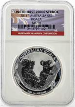 2011P $1 Australia Koala Silver Coin NGC MS70