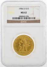 1906-D $10 Liberty Head Eagle Gold Coin NGC MS62
