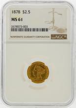 1878 $2 1/2 Liberty Head Quarter Eagle Gold Coin NGC MS61