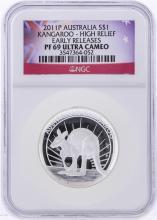 2011-P $1 Australia Kangaroo High Relief Early Release NGC PF69 Ultra Cameo