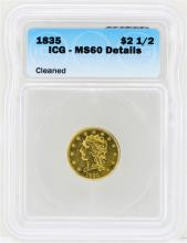 1835 $2 1/2 Classic Head Quarter Eagle Gold Coin ICG MS60 Details