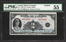 1935 $2 Bank of Canada Note English BC-3 PMG About Uncirculated 55