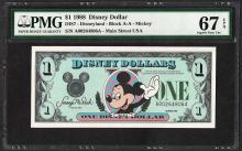 1988 $1 Disney Dollars Note PMG Superb Gem Uncirculated 67EPQ