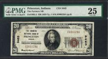1929 $20 National Currency Note Princeton, Indiana CH# 9463 PMG Very Fine 25