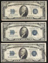Lot of (3) 1934D $10 Silver Certificate Notes