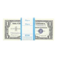 Pack of (100) Consecutive 1957B $1 Silver Certificate Notes Uncirculated