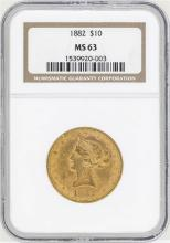 1882 $10 Liberty Head Eagle Gold Coin NGC MS63