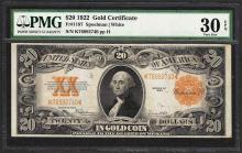 1922 $20 Gold Certificate Note Fr.1187 PMG Very Fine 30EPQ