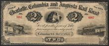 1873 $2 Charlotte Columbia and Augusta Rail Road Obsolete Note