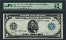 1914 $5 Federal Reserve Note St. Louis Fr.874 PMG Extremely Fine 45EPQ