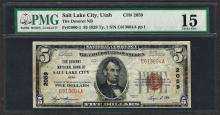 1929 $5 National Currency Note Salt Lake City, Utah CH# 2059 PMG Choice Fine 15