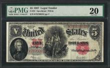 1907 $5 Woodchopper Legal Tender Note Fr.91 PMG Very Fine 20