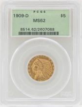 1909-D $2 1/2 Indian Head Quarter Eagle Gold Coin PCGS MS62