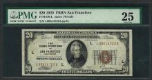 1929 $20 Federal Bank of San Francisco Note Fr.1870-L PMG Very Fine 25