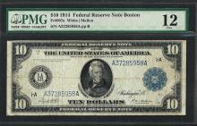 1914 $10 Federal Reserve Note Boston Fr.907a PMG Fine 12