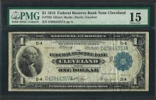 1918 $1 Federal Reserve Bank Note Cleveland Fr.720 PMG Choice Fine 15
