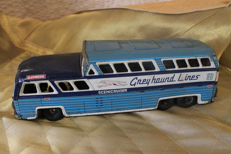 Metal toy Greyhound bus