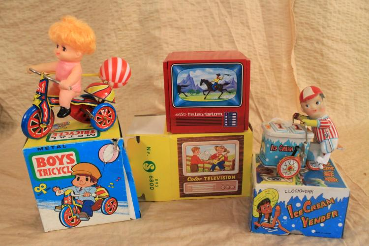Lot  of child themed tin toys