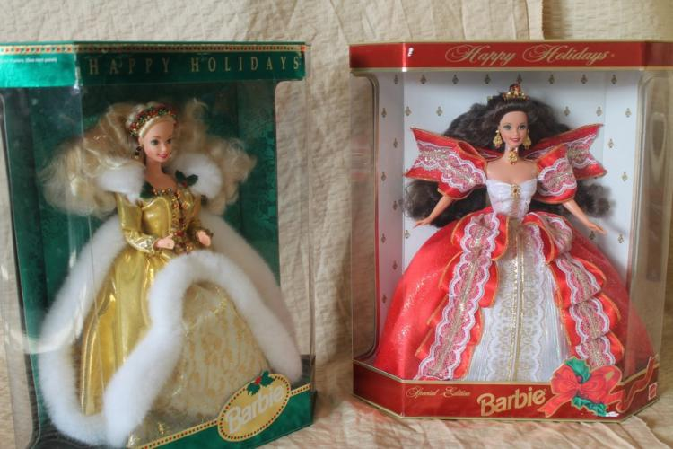 1994 and 1997 holiday Barbie dolls