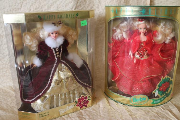 Two special holiday Barbie dolls, 1993 and 1996