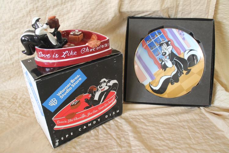 Pepe le Pew candy dish and collector's plate